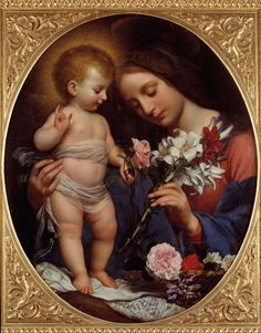 La Vierge au lys - Virgin of the Lily by Carlo Dolci Religious Pictures, Jesus Pictures, Religious Icons, Religious Art, Religious Paintings, Blessed Mother Mary, Blessed Virgin Mary, Catholic Art, Catholic Saints