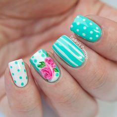 Image via Pink HIBISCUS solids and stripes nail art. Pretty, elegant, love it. Image via One stroke Blue Rose Nail Art Tutorial! Image via Peach rose nails photo Image via Rose Nail Design, Rose Nail Art, Rose Nails, Flower Nails, Mint Nails, Nails Design, Spring Nail Art, Nail Designs Spring, Spring Nails