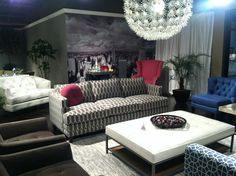 Showroom display at #HighPointMarket – featuring inspiration pattern all over, texture, monaco blue, and fuchsia for pop!