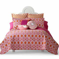 LOVE the mix of patterns...and the orange and pink is cute! Happy Chic by Jonathan Adler Katie Quilt Set & Accessories - jcpenney $120