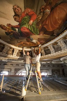 Reinstalling the Veronese canvases from the ceiling of San Sebastiano