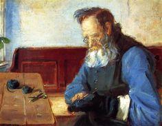 """Man Mending Socks"""", malen von Anna Ancher (1859-1935, Denmark)"""