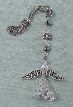 Protecting Angel Car Catcher Dangle with Silver Toned Angel Wings, Rearview Mirror Charm, Handmade Bridal Good Luck Charm 27CAN06