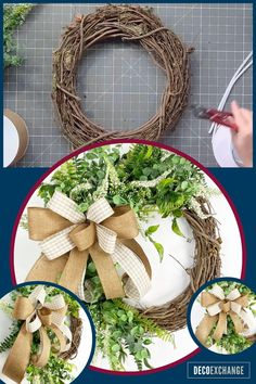 Thanksgiving Wreaths, Easter Wreaths, Christmas Wreaths, Make Your Own Wreath, How To Make Wreaths, Greenery Wreath, Grapevine Wreath, Diy Spring Wreath, Outdoor Wreaths