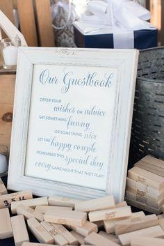 Jenga Wedding Guest Book | Caroline and Evan Photography on @myhotelwedding via @aislesociety