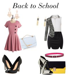 """""""Back to School: Hanna Marin Inspired"""" by fashionbrownies ❤ liked on Polyvore featuring Office, MANGO, Vero Moda and Shoe Cult"""