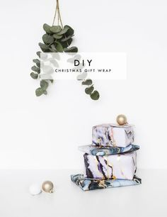 DIY Christmas Gift wrapping with Scotch tape | Make this easy wrap idea and wow this christmas | marble and gold leaf
