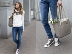 Jeans And Converse, Converse Sneakers, Fashion Flats, Fashion Outfits, Denim Outfits, O Bag Mini, Boss Orange, What To Wear, Autumn Fashion