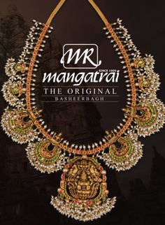22 Carat gold antique lakshmi guttapusalu haram adorned with kundans and pearls by Mangatrai jewelers. Indian Wedding Jewelry, Indian Jewelry, Bridal Jewelry, Gold Jewelry, Jewelry Design Earrings, Jewelry Sets, Urban Jewelry, 22 Carat Gold, Indian Jewellery Design