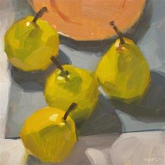 """Daily Paintworks - """"Aimless Pears"""" - Original Fine Art for Sale - © Carol Marine"""