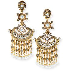 Jose & Maria Barrera 24K Gold Pearlescent Chandelier Clip Earrings ($555) ❤ liked on Polyvore featuring jewelry, earrings, gold, yellow gold earrings, chandelier clip earrings, clip back earrings, clip on chandelier earrings and clip on earrings