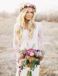 Or maybe I'll just have a colorful wedding bouquet and headpiece : )