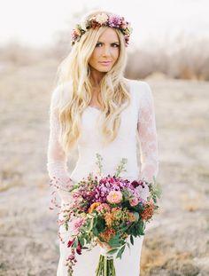 Wedding dress with floral bridal wreath