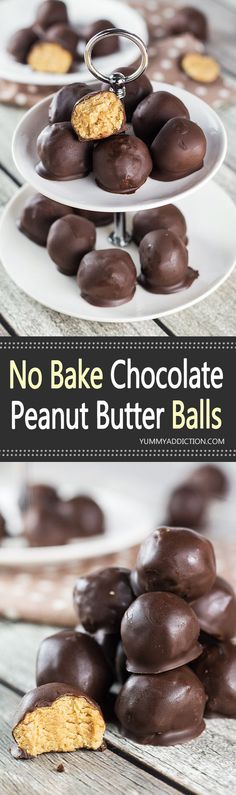 These No Bake Chocolate Peanut Butter Balls are everything you want them to be. Crazy delicious and really easy to make, they make a perfect dessert for any occasion! | yummyaddiction.com