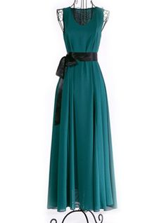 $11.00 Graceful Plunging Neck Sleeveless Chiffon Solid Color Maxi Dress For Women