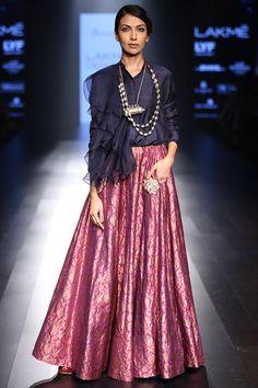 Blue ruffled shirt with banarasi lehenga Banarasi Lehenga, Indian Lehenga, Anarkali, Brocade Lehenga, Lehenga Skirt, Saree Dress, Pakistani Dresses, Indian Dresses, Indian Outfits