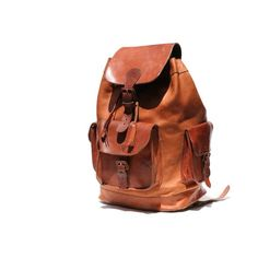 mocha brown His or Hers leather backpack