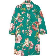 Gucci Quilted floral-print cotton-blend coat (€1.675) ❤ liked on Polyvore featuring outerwear, coats, jackets, gucci, quilted coat, blue coat, leather-sleeve coats, blue quilted coat and gucci coat