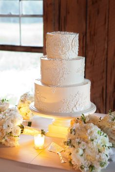 wedding cake decorated with lace details by http://weddingcakesbyjimsmeal.com/ Photography by Gayle Brooker Photography / gaylebrooker.com #Cake #lace