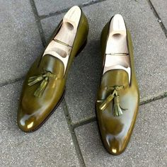 Olive color men tassel loafer handmade custom leather shoes for men sold by Lajuria. Shop more products from Lajuria on Storenvy, the home of independent small businesses all over the world. Mens Leather Loafers, Leather Men, Leather Shoes, Custom Leather, Handmade Leather, Cowhide Leather, Soft Leather, Mens Tassel Loafers, Leather Tassel