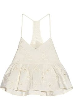 Tibi Brodee Embroidered Silk-Faille Top in White
