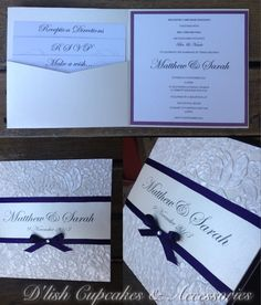 Pearl blossom bespoke wedding invitations with purple trim. By D'lish Cupcakes & Accessories