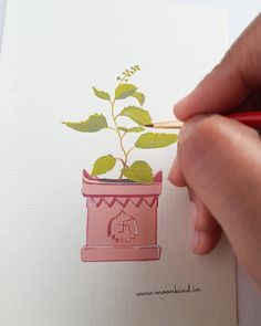 Holy basil or Tulsi plant's painting in gouache in a handmade greeting card format. Simple Canvas Paintings, Realistic Paintings, Original Paintings, House Illustration, Plant Illustration, Illustrations, Plant Painting, Plant Drawing, Tulsi Plant