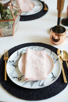 Marble, gold and blush dinnerware