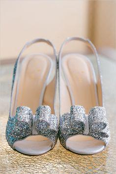 Wedding Shoe Idea: Silver sparkly Kate Spade wedding shoes