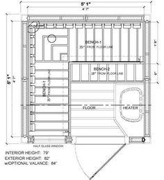sauna floor construction at DuckDuckGo Saunas, Sauna Lights, Electric Sauna Heater, Vertical Doors, Sauna Design, Finnish Sauna, Outdoor Sauna, Free Shed Plans, Sauna Room