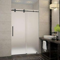 Langham 44 in. to 48 in. x 75 in. Completely Frameless Sliding Shower Door with Frosted Glass in Oil Rubbed Bronze