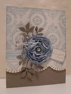 Pastel Blue & Taupe Card...with fabulous dimensional flower & lacy border...Michelle Bala.