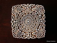 Indian Handmade wood stamps are a unique combination of Art, Skill & Functionality!    This lovely wood stamp features a custom designed, square