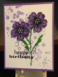 Birthday Card - Stampin' Up Stamps:  Flower Shop, Avant-Garden, Playful Backgrounds - Stamps:  Hero Arts Many Birthday Messages, Tim Holtz Flower Garden - Inks:  Memento Grape Jelly Versfine Onyx Black, Stampin' Up Cucumber Crush - Stampin' Up Cucumber Crush Marker - Simon Says Stamp Fine Detail Clear Embossing Powder - Ranger Liquid Pearls White Opal - Gina K. Wild Lilac Cardstock - Inspiration: http://catsinkcorporated.blogspot.com/2013/11/bokeh-bo-keh-technique-dreamy-flowers.html