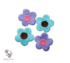 4 Pieces Embroidered Flower Applique, Flower Iron On Patch, Flower Patch, Embroidered Iron On, Iron On Patch, Purple Flower, Flower Applique
