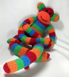 handmade sock monkey from TheMonkeyShop.etsy.com - These are the BEST sock monkeys ever - my kids have about 20 of them.