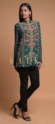 Buy Online from the link below. We ship worldwide (Free Shipping over US$100)  Click Anywhere to Tag Pine Green Short Kurti In Crepe With Floral And Geometric Print Online - Kalki Fashion Pine green short kurti in crepe adorned with floral and geometric print.Crafted with mandarin collar, front placket and full sleeves.Slight variation in color is possible.