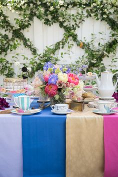 Tea party bridal shower idea -Mad Hatter Alice in Wonderland garden, tea party {Courtesy of Sugar and Charm}