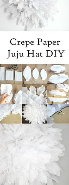 Craftberry Bush   Crepe Paper Juju Hat Tutorial   Easy and pretty project that will look great hanging above your bed or console table http://www.craftberrybush.com