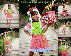 Kaylyn from Sugar Grits Boutique Models modeling a  Savvy Fru Fru Santa hat and a Princess Peanut and Friends Christmas dress. Orders at savvyfrufru.com or visit us on Facebook at www.facebook.com/...