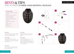 Free jewellery making tutorials - create a Linked Chain Waterfall Necklace.