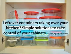 Great blog post with tips on organizing and cutting clutter in your kitchen cabinets!
