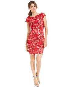 Betsy & Adam Cap-Sleeve Contrast Lace Sheath - Dresses - Women - Macy's