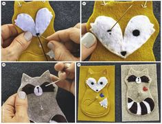 DIY: Forest animals made of felt from the Mollie Makes Mollie Makes, Felt Ornaments, Diy Christmas Ornaments, Felt Christmas, Felt Diy, Felt Crafts, Fabric Crafts, Felt Animal Patterns, Stuffed Animal Patterns