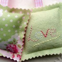 Pair of felt lavender bags