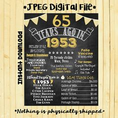 Gold 65th Birthday Chalkboard 1953 Poster 65 Years Ago in 1953 Born in 1953 65th Birthday Gift INSTANT DOWNLOAD