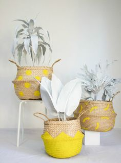 Fazeek yellow rattan baskets on The Life Creative