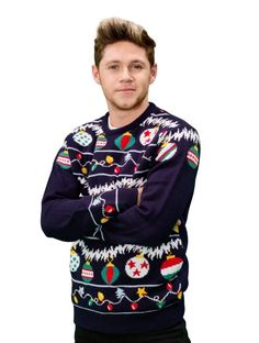 Niall wearing an ugly Christmas sweater for the charity 'Save the Children UK' (Pinterest @ Schneider24)