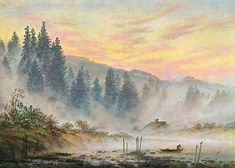 The Morning - Caspar David Friedrich.  c.1820-21.  Oil on canvas.  22 x 30.5 cm.  Lower Saxony State Museum, Hanover, Germany.