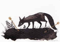 Fox and Arrows - ACEO - Original Art Card Illustration available on Etsy